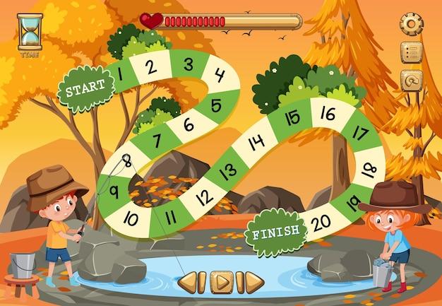 Gra planszowa dla dzieci w szablonie w stylu kempingowym