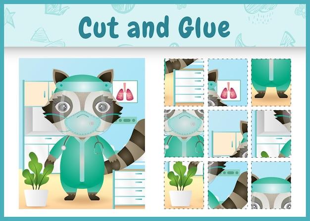 Gra planszowa dla dzieci wyciąć i skleić ślicznym szopem za pomocą kostiumowego zespołu medycznego