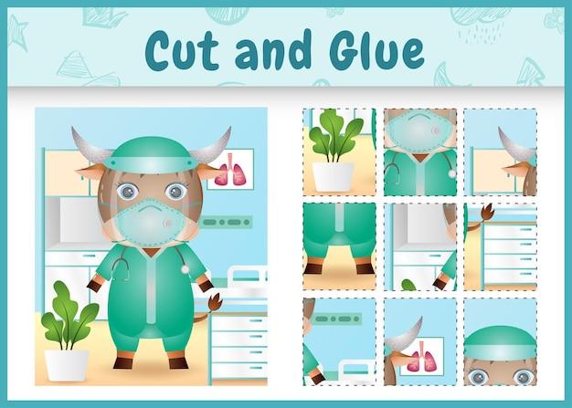 Gra planszowa dla dzieci wyciąć i skleić z uroczym bawołem za pomocą kostiumu zespołu medycznego