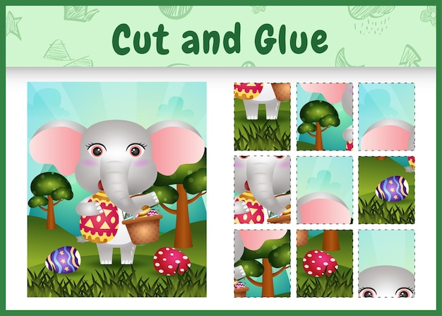 Gra planszowa dla dzieci wycina i przykleja tematyczne święta wielkanocne ze słodkim słoniem trzymającym jajko w kształcie wiadra i jajko wielkanocne
