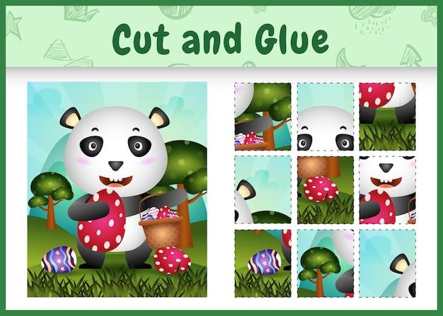 Gra planszowa dla dzieci wycina i przykleja wielkanocne motywy ze śliczną pandą trzymającą jajko w kształcie wiadra i jajko wielkanocne