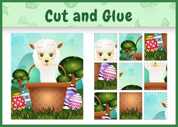 Gra planszowa dla dzieci wycinaj i przyklejaj wielkanocne motywy z uroczą alpaką w jajku w kształcie wiadra