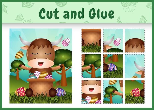 Gra planszowa dla dzieci wycinaj i przyklejaj wielkanocne motywy z uroczym bawołem w jajku