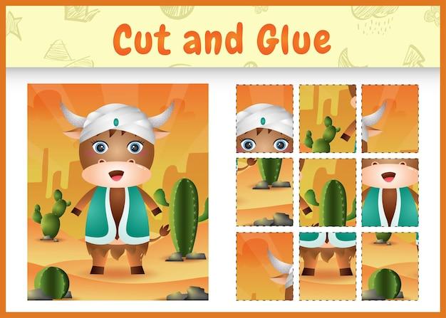 Gra planszowa dla dzieci wycinaj i przyklejaj wielkanocne motywy z uroczym bawołem w tradycyjnym arabskim stroju