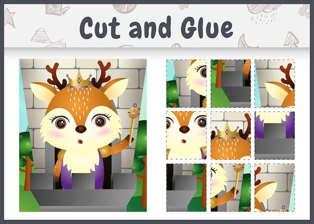 Gra planszowa dla dzieci wycinana i klejona z uroczą postacią jelenia królewskiego