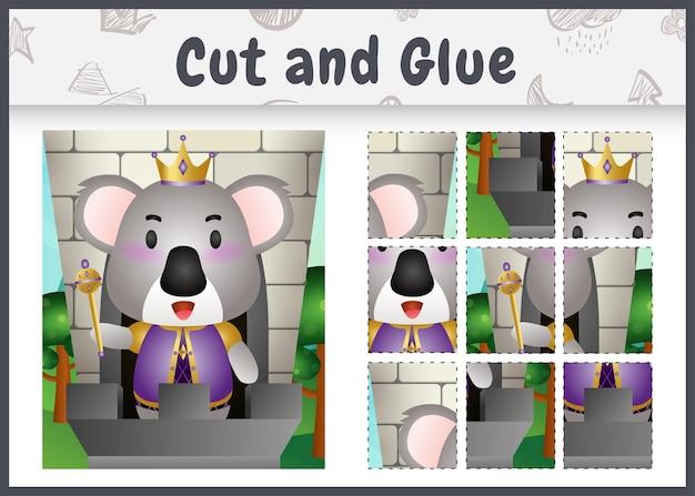 Gra planszowa dla dzieci wycinana i klejona z uroczą postacią króla koali