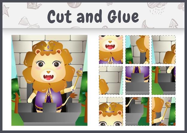 Gra planszowa dla dzieci wycinana i klejona z uroczą postacią króla lwa
