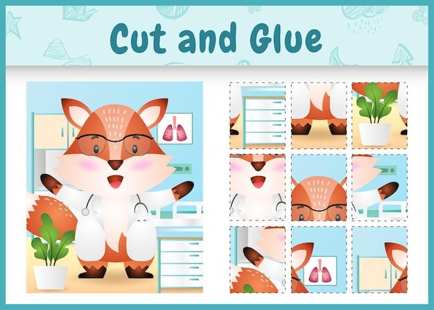 Gra planszowa dla dzieci wycinana i klejona z uroczą postacią lisa lekarza