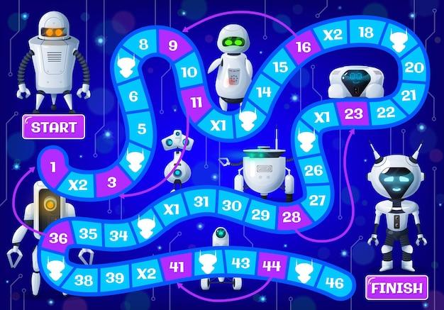 Gra planszowa dla dzieci z kreskówkowymi droidami i robotami