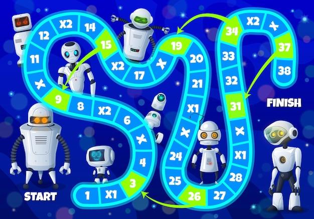 Gra planszowa dla dzieci z robotami lub androidami, gra planszowa