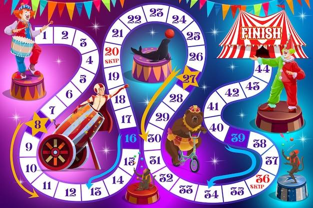 Gra planszowa dla dzieci z rysunkowymi cyrkowymi wykonawcami