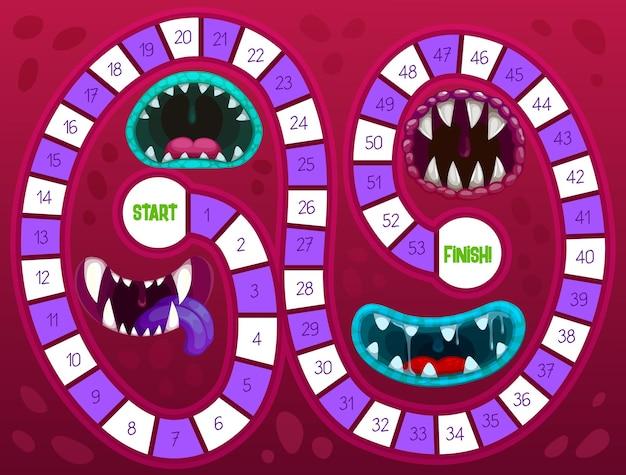 Gra planszowa dla dzieci z ząbkowanymi paszczami potwora na halloween