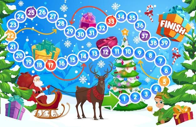 Gra planszowa dla dzieci zimowe wakacje z choinką i mikołajem. dzieci płacące za zajęcia z rzucaniem kostką, edukacyjna gra planszowa dla dzieci. święty mikołaj na saniach w lesie, reniferze i wektorze kreskówek elfów