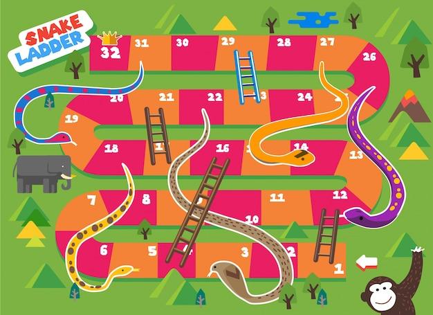 Gra planszowa snake and ladder jest zabawna dla dzieci