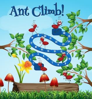 Gra planszowa szablon z mrówkami w ogródzie