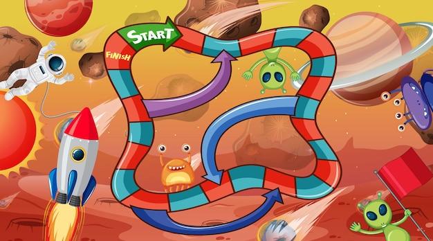 Gra planszowa z szablonem motywu kosmicznego