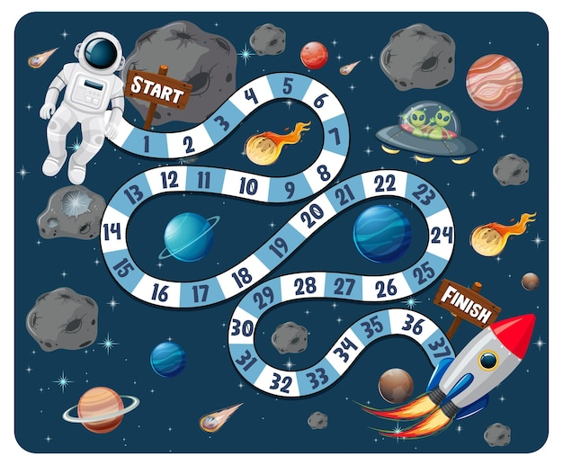Gra planszowa ze ścieżką w motywie galaktyki