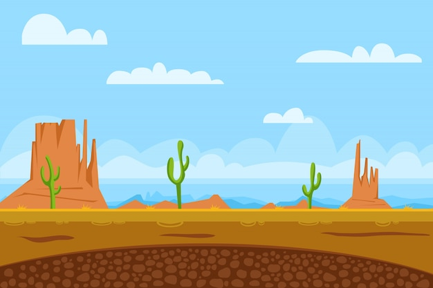 Gra płaskie tło pokazuje pustynię i monument valley w usa, słońce, kaktusy, góry, niebo
