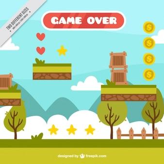 Gra platformowa, w scenie przyrody