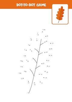 Gra połącz kropki z jesiennym liściem kreskówki. połącz kropki. gra matematyczna. kropka i kolorowy obraz.