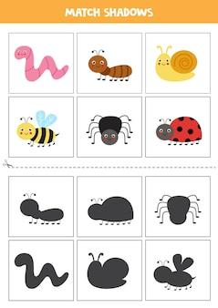 Gra polegająca na dopasowywaniu cieni dla dzieci w wieku przedszkolnym. śliczne owady.