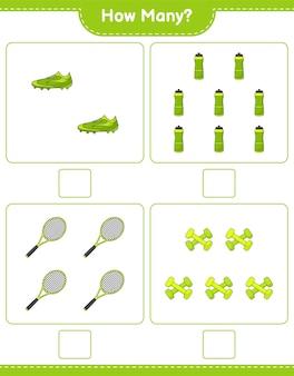 Gra polegająca na liczeniu ile butelek wody rakieta tenisowa buty piłkarskie i hantle