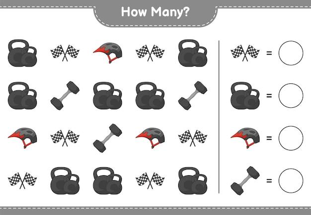 Gra polegająca na liczeniu ile flag wyścigowych z hantlami i kasków rowerowych gra edukacyjna dla dzieci