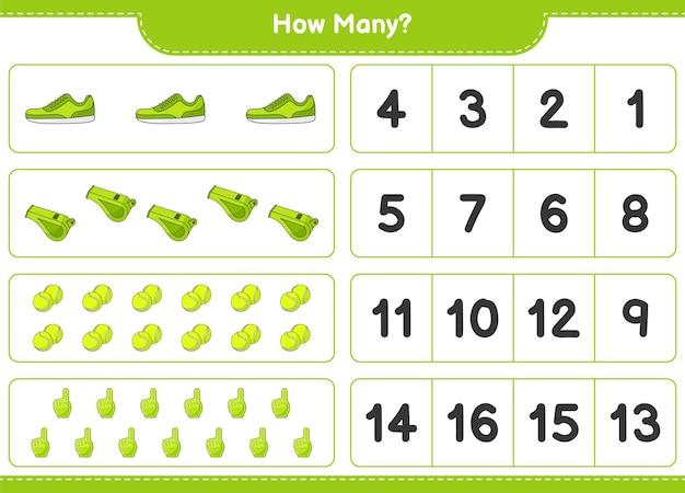 Gra polegająca na liczeniu ile foam finger whistle tennis ball and sneaker gra edukacyjna dla dzieci