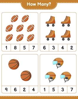 Gra polegająca na liczeniu ile hokej kask wrotki koszykówka i piłka nożna