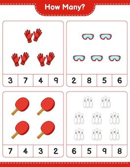 Gra polegająca na liczeniu ile kręgli gogle rakieta do ping-ponga i rękawice bramkarskie