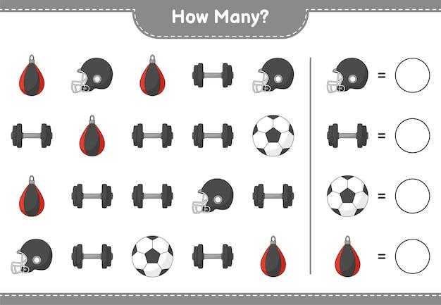 Gra polegająca na liczeniu ile piłka nożna piłka piłka nożna kask hantle i worek treningowy