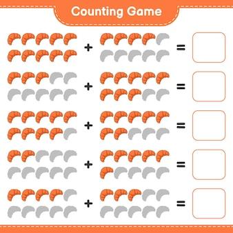 Gra polegająca na liczeniu, policz liczbę rogalików i napisz wynik. gra edukacyjna dla dzieci, arkusz do druku