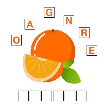 Gra puzzle słowa krzyżówka dojrzałe owoce pomarańczy.