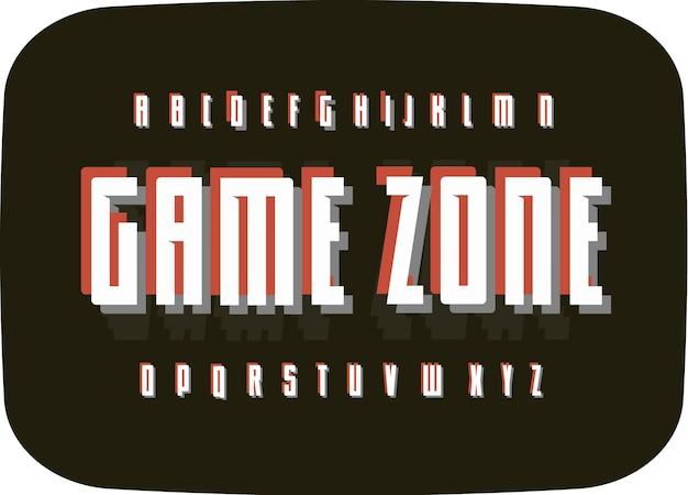 Gra retro alfabet na czarnym starym tle ekranu telewizora typografia vintage pikselowy szablon czcionki cyfrowy