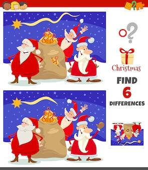 Gra różnice z grupą postaci świątecznych mikołaja