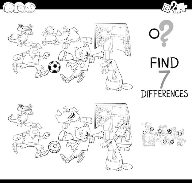 Gra różnice z książką kolorów zwierząt piłka nożna