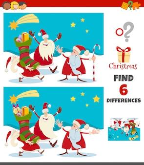 Gra różnice z postaciami świątecznymi świętego mikołaja