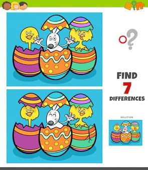Gra różnice z postaciami z kreskówek na wielkanoc
