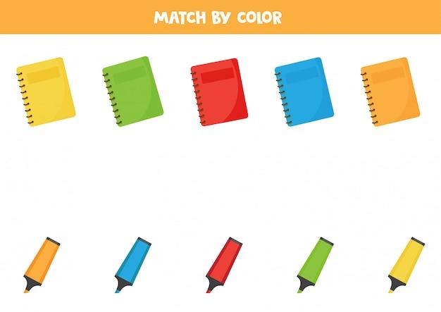 Gra sortowania kolorów dla dzieci. pasujące zeszyty i zakreślacze.
