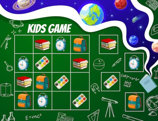 Gra sudoku dla dzieci, arkusz edukacji szkolnej.