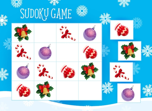 Gra sudoku dla dzieci z ozdobami choinkowymi