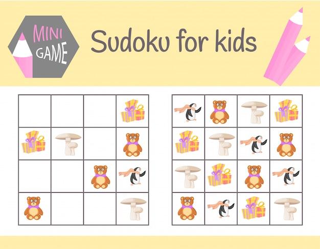 Gra sudoku dla dzieci ze zdjęciami i zwierzętami. arkusze dziecięce. nauka logiki, gra edukacyjna
