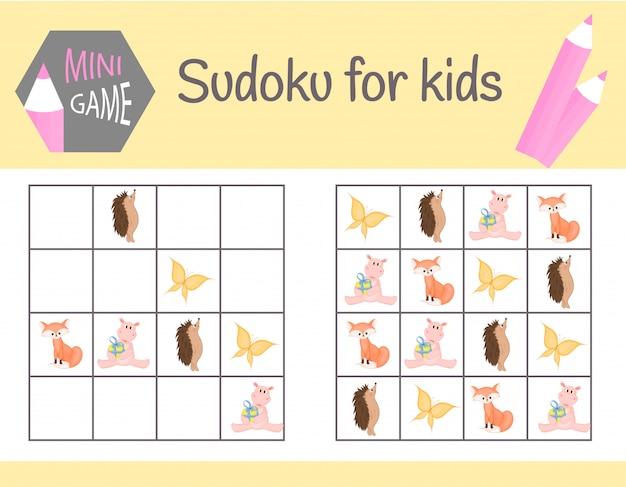 Gra sudoku dla dzieci ze zdjęciami i zwierzętami.