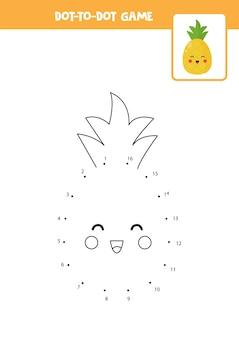 Gra typu kropka-kropka z uroczym ananasem z kawaii połącz kropki gra matematyczna kropki i kolorowy obraz