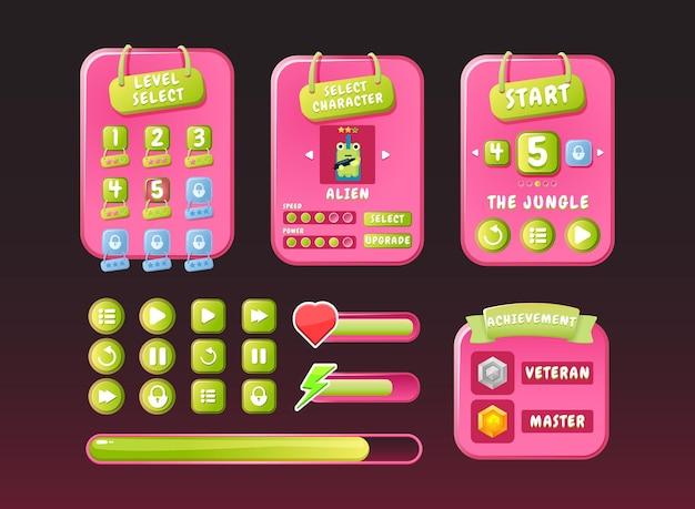 Gra ui zabawna natura różowy zestaw casual menu wyskakujące interfejs z ikoną i paskiem postępu