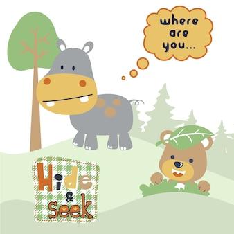 Gra w chowanego z kreskówek cute zwierząt
