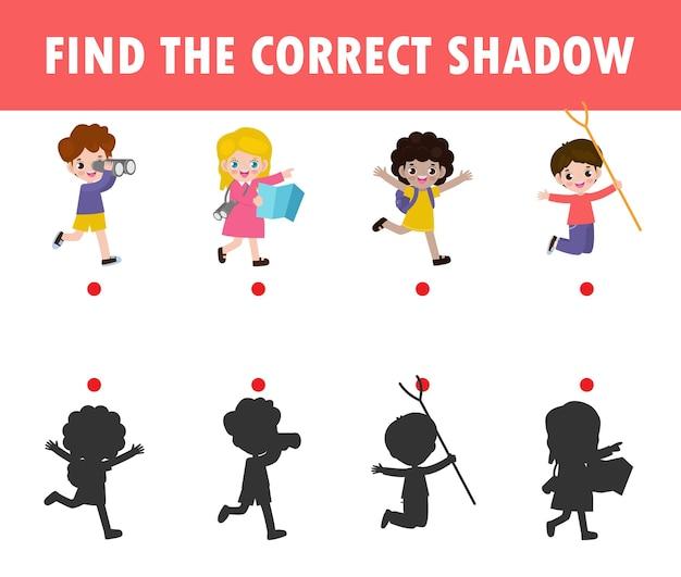 Gra w dopasowywanie cieni dla dzieci. gra wizualna dla dzieci, znajdź odpowiedni cień