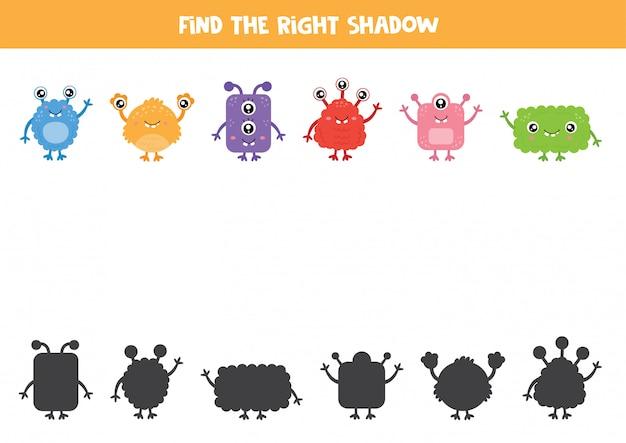 Gra w dopasowywanie cieni dla dzieci w wieku przedszkolnym. arkusz edukacyjny.