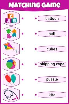 Gra w dopasowywanie dla dzieci. połącz obraz i słowa. arkusz edukacyjny dla dzieci.