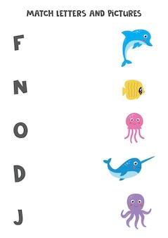 Gra w dopasowywanie dla dzieci. połącz obrazek i literę, od której się zaczyna. arkusz edukacyjny z alfabetem dla dzieci. zwierzęta morskie kreskówka.